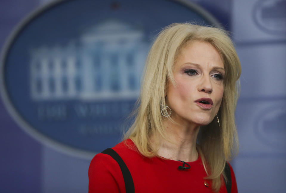"FILE - In this March 23, 2018 file photo, Counselor to the President Kellyanne Conway speaks during a media interview in the White House Press Brady Press Briefing Room in Washington. Asked if the president would back legislation in the works that would keep government funded, likely into February, Conway said Trump will ""take a look at that certainly."" She argued Trump was not softening on his promise to secure the border. (AP Photo/Pablo Martinez Monsivais)"