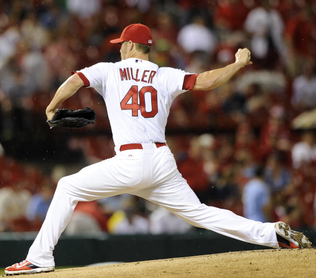 St. Louis Cardinals' starting pitcher Shelby Miller (40) throws against the Boston Red Sox in the first inning in a baseball game, Wednesday, August 6, 2014, at Busch Stadium in St. Louis. (AP Photo/Bill Boyce)