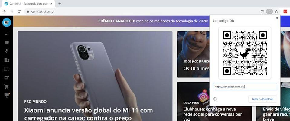 Compartilando link via código QR no Chrome de Windows (Imagem: Felipe Junqueira/Captura de tela)