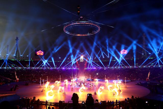 <p>The Olympic cauldron is lit during the Opening Ceremony of the PyeongChang 2018 Winter Olympic Games at PyeongChang Olympic Stadium on February 9, 2018 in Pyeongchang-gun, South Korea. (Photo by Jamie Squire/Getty Images) </p>