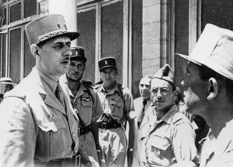 French Resistance leader Charles de Gaulle, left, with Germain pictured in the centre (AFP/-)