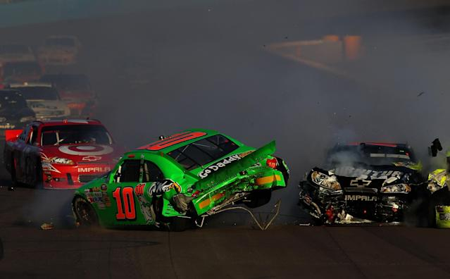AVONDALE, AZ - NOVEMBER 11: Danica Patrick, driver of the #10 GoDaddy.com Chevrolet, spins out after an incident in the NASCAR Sprint Cup Series AdvoCare 500 at Phoenix International Raceway on November 11, 2012 in Avondale, Arizona. (Photo by Jonathan Ferrey/Getty Images for NASCAR)