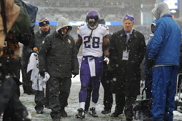 BALTIMORE, MD - DECEMBER 08: Running back Adrian Peterson #28 of the Minnesota is taken off the field after being injured during the game against the Baltimore Ravens at M&T Bank Stadium on December 8, 2013 in Baltimore, Maryland. (Photo by Larry French/Getty Images)