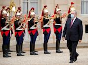 Armenian President Armen Sarkissian arrives for a meeting with the French President at the Elysee Palace in Paris on Thursday