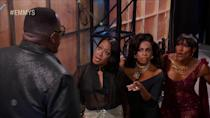 """<p><strong>""""Let's go find that <em>Bridgerton</em> boy.""""</strong></p> <p>— Cedric the Entertainer's TV wives, making a plan B to seek out Regé-Jean Page after Cedric refused to pick his favorite of the three of them backstage</p>"""