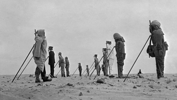 A group of dummies set up on the French nuclear weapons testing range near Reggane, Algeria, before France's third atomic bomb test, 27th December 1960