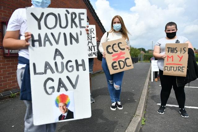 Students from Codsall Community High School gather prior to marching to the constituency office of Gavin Williamson as part of a protest over A-level results