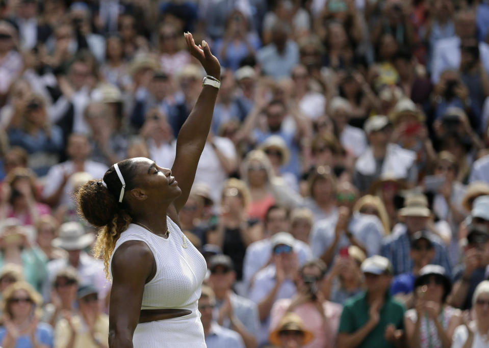 United States' Serena Williams celebrates defeating Czech Republic's Barbora Strycova during a women's singles semifinal match on day ten of the Wimbledon Tennis Championships in London, Thursday, July 11, 2019. (AP Photo/Tim Ireland)