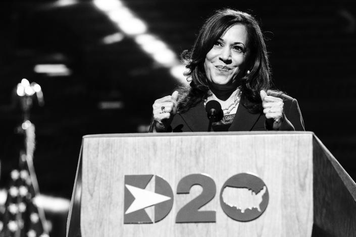 VP nominee Sen. Kamala Harris speaks during the Democratic National Convention in August.