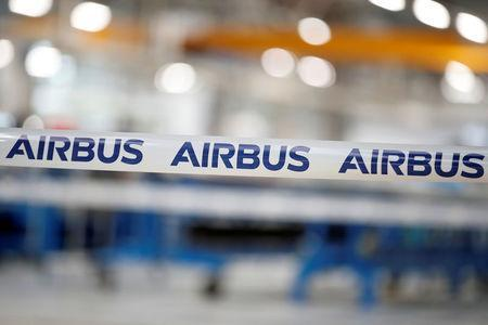 The logo of Airbus Group is seen at the Airbus Helicopters Paris-Le Bourget plant dedicated to the production and the renovation of helicopters blades, in Dugny, near Paris, France, December 1, 2017. REUTERS/Benoit Tessier