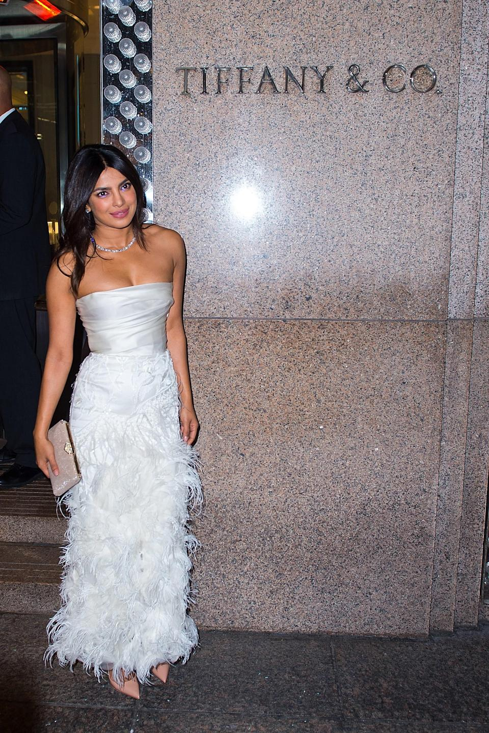 We don't know Priyanka Chopra and Nick Jonas' wedding date yet, but the actress just threw a glitzy bridal shower at Tiffany & Co. She looked stunning.