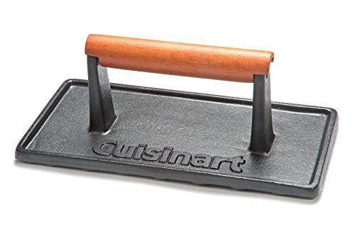 """<p><strong>Cuisinart</strong></p><p>amazon.com</p><p><strong>$17.10</strong></p><p><a href=""""https://www.amazon.com/dp/B005TGY0ME?tag=syn-yahoo-20&ascsubtag=%5Bartid%7C1782.g.4175%5Bsrc%7Cyahoo-us"""" rel=""""nofollow noopener"""" target=""""_blank"""" data-ylk=""""slk:BUY NOW"""" class=""""link rapid-noclick-resp"""">BUY NOW</a></p><p>Smash burgers will be a summertime staple this year and this grill press makes them so easy.</p>"""