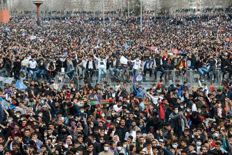 Supporters of pro-Kurdish Peoples' Democratic Party (HDP) mark the Persian New Year with a protest over political repression
