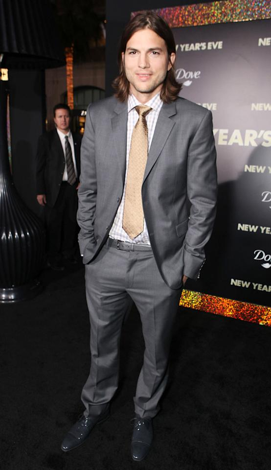 """<a href=""""http://movies.yahoo.com/movie/contributor/1800354733"""">Ashton Kutcher</a> at the Los Angeles premiere of <a href=""""http://movies.yahoo.com/movie/1810219047/info"""">New Year's Eve</a> on December 5, 2011."""