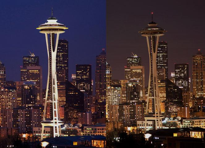Earth Hour 2010. The Space Needle and Cityscape before the lights are switched off, Seattle, Washington, USA.