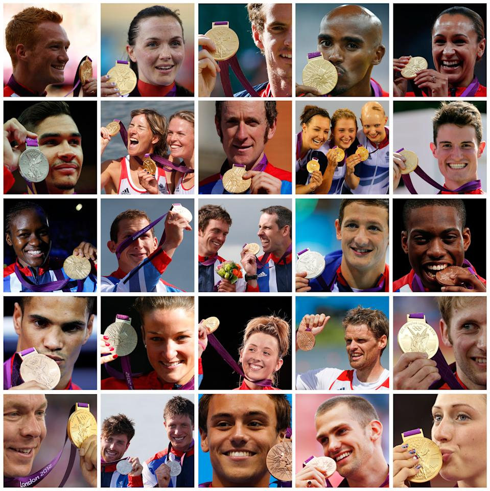 A combination picture shows a selection of British athletes posing with their medals at the London 2012 Olympic Games. Great Britain finished third in the medal table, their best result ever.   Pictures taken on different dates since the start of the Games.           REUTERS/Staff (BRITAIN  - Tags: OLYMPICS TPX IMAGES OF THE DAY)  