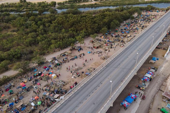 Migrants, many from Haiti, are camped along the Del Rio International Bridge on Sept. 22 in Texas.