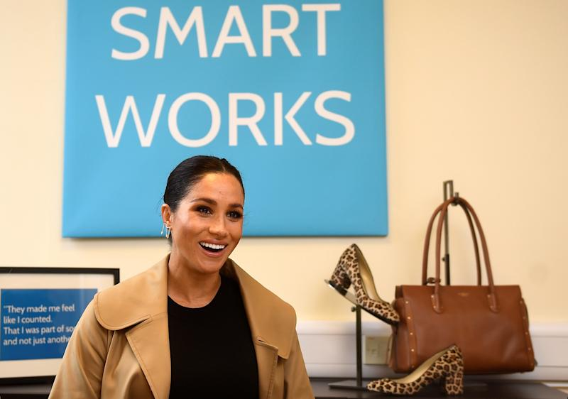 The Duchess of Sussex during her visit to Smart Works, in London, on the day that she has become their patron, as well as patron of the National Theatre, the Association of Commonwealth Universities, and the animal welfare charity, Mayhew.