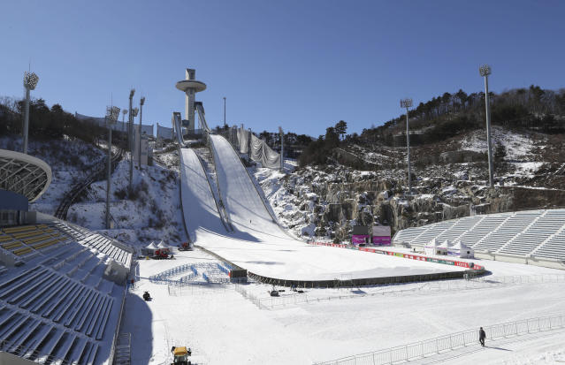 The Alpensia Ski Jumping Centre in PyeongChang, South Korea, doubles as a soccer stadium for Gangwon FC. (AP)