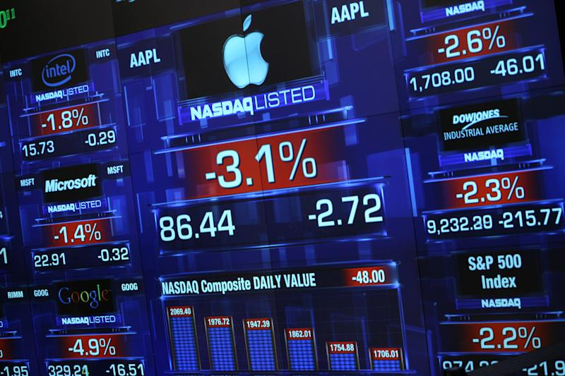 An electronic screen at the Nasdaq MarketSite shows the decline in the price of Apple shares, center, at the start of the trading day Wednesday, Oct. 8, 2008 in New York. Wall Street extended its huge decline Wednesday as an emergency interest rate cut failed to alleviate investors' fears that the paralysis in the credit markets will set off a global recession. (AP Photo/Mark Lennihan)