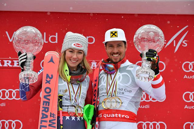 Alpine Skiing - FIS Alpine Skiing World Cup Finals 2018 - Are, Sweden - March 18, 2018. Mikaela Shiffrin of the U.S. and Marcel Hirscher of Austria pose with the World Cup overall trophies. TT News Agency/Anders Wiklund/ via REUTERS ATTENTION EDITORS - THIS IMAGE WAS PROVIDED BY A THIRD PARTY. SWEDEN OUT. NO COMMERCIAL OR EDITORIAL SALES IN SWEDEN