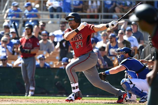 Yasmany Tomas, shown playing for Arizona, launched four home runs for the Reno Aces on Monday. (Photo by Jennifer Stewart/Getty Images)