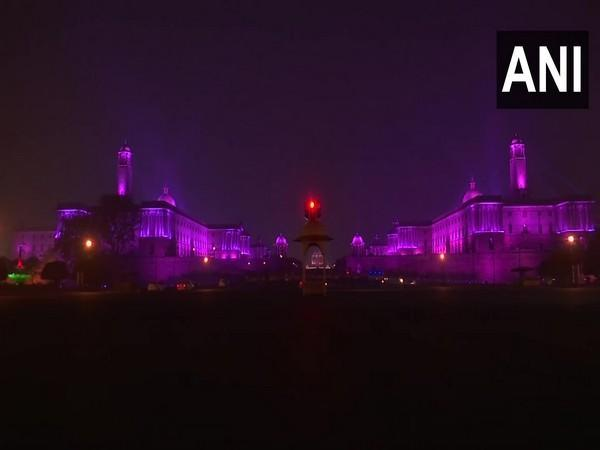 A view of the illuminated North Block and South Block on the occaision of Diwali. [Photo/ANI]
