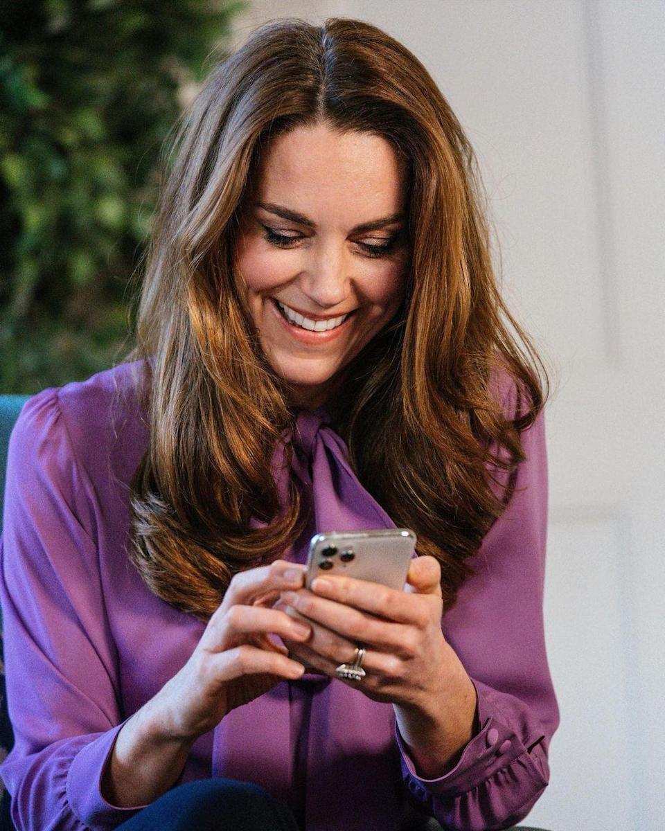 "<p>The Duchess of Cambridge rewore her incredible purple Gucci pussybow blouse in a new video for her Early Years project, shared by Kensington Palace. Click <a href=""https://www.instagram.com/p/CII-H1Bli8x/"" rel=""nofollow noopener"" target=""_blank"" data-ylk=""slk:here"" class=""link rapid-noclick-resp"">here</a> to watch the clip in full.</p>"