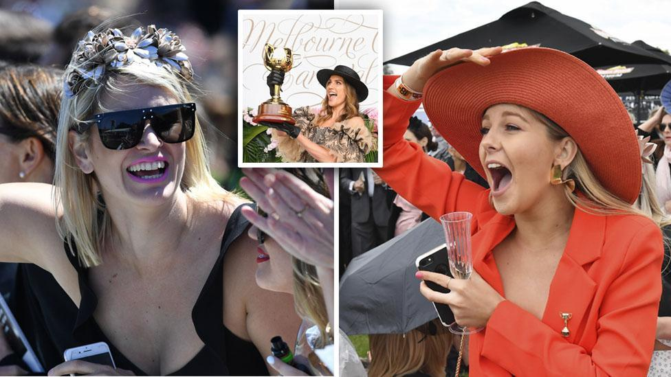 <p>Pictured: Punters brave wild weather as Melbourne Cup festivities get underway</p>