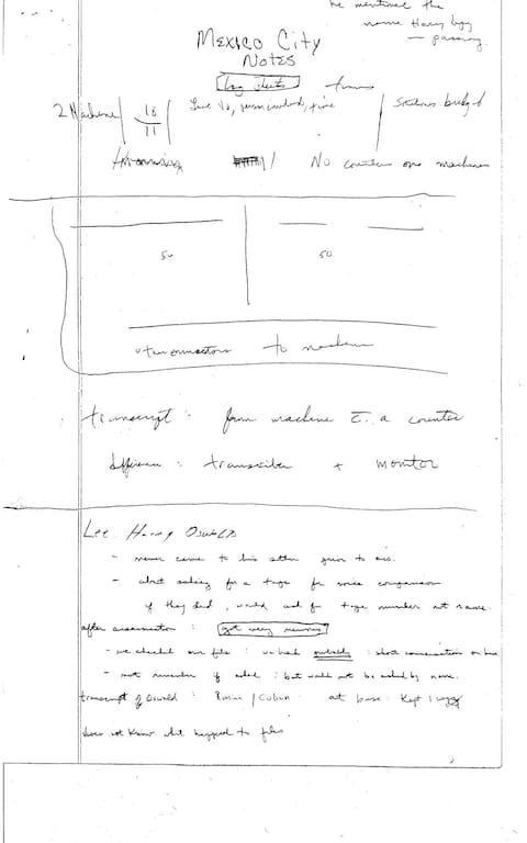 <span>Notes from a CIA Mexico City station report</span> <span>Credit: US National Archives </span>