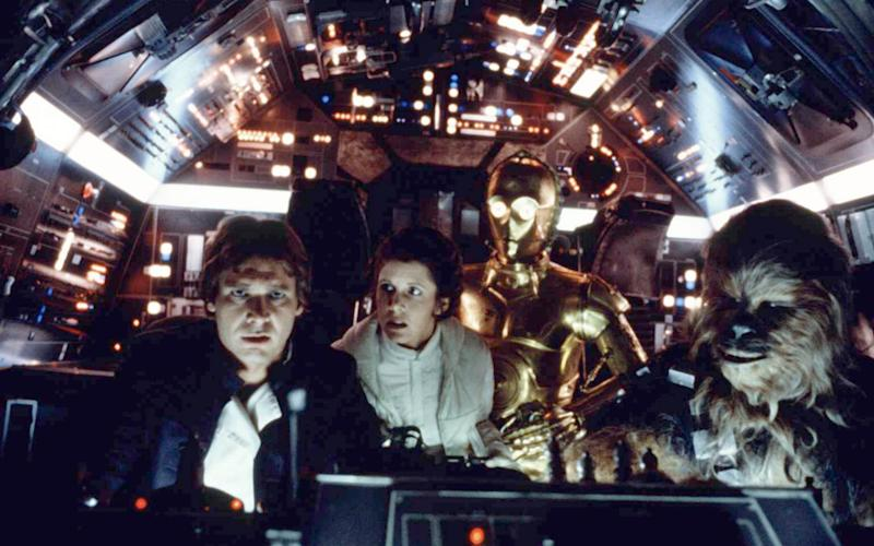 Harrison Ford, Carrie Fisher, Anthony Daniels, and Peter Mayhew in The Empire Strikes Back - Corbis