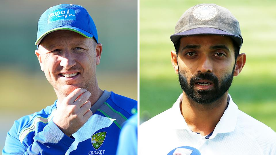 Former Aussie wicketkeeper Brad Haddin (pictured left) during practice and Ajinkya Rahane (pictured right) during an interview.