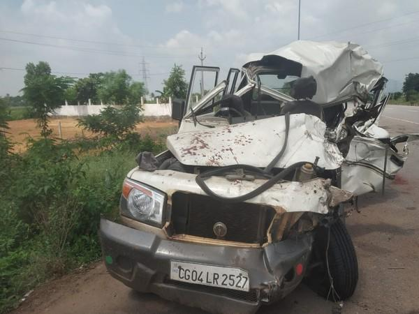 A visual of the vehicle that met with an accident in Srikakulam on Friday night. Photo/ANI