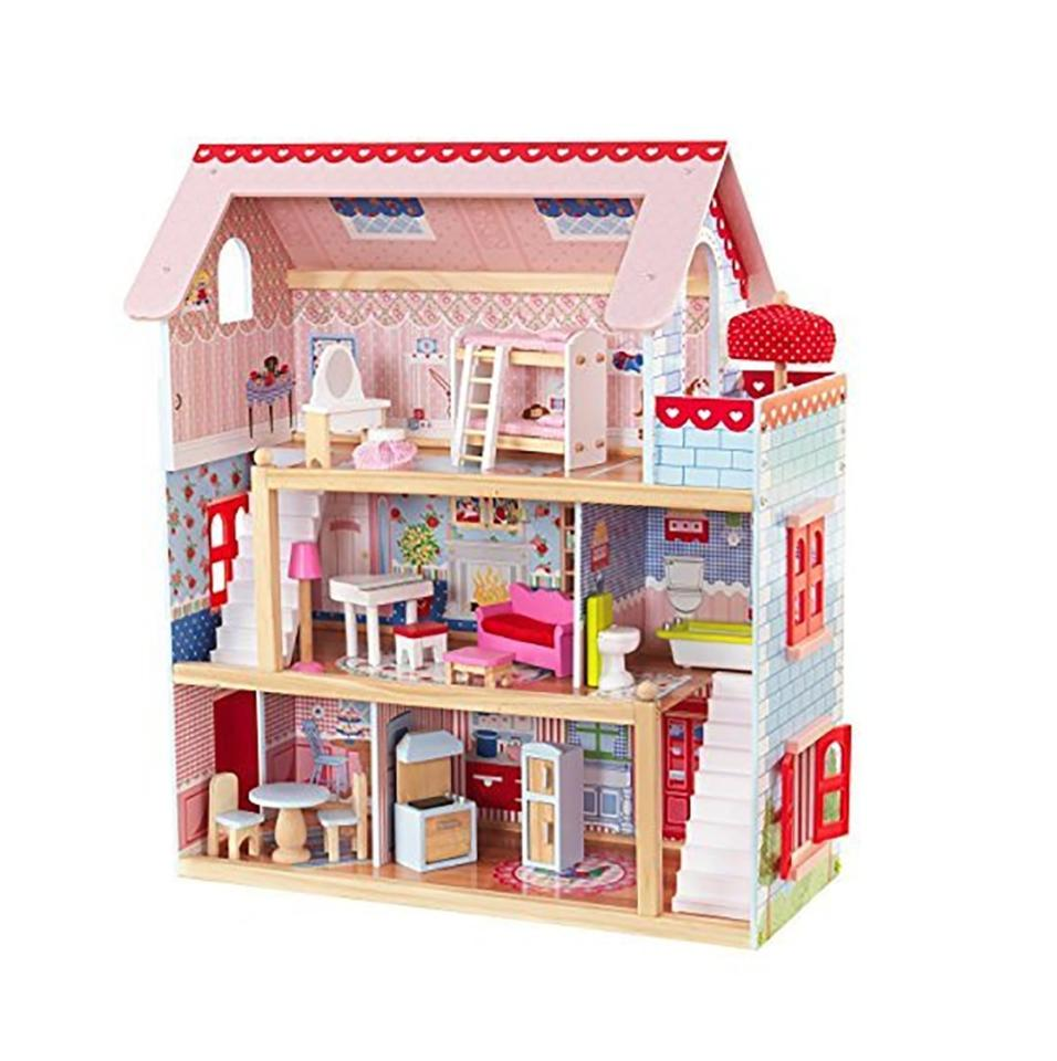 """<p><strong>Why she'll love it:</strong>You may make the rules on your house, but kids love having a playhouse where they're in charge. Add some play figures, and watch your kids go to town making up scenes and stories.</p> <p><strong>Why experts love it:</strong>""""Preschool kids are quick to take on pretend roles and situations, and a dollhouse lets them do this,"""" says Adair. """"It also helps build social skills."""" Says Briggs: """"The multiple heights of a dollhouse also make it fun for more than one kid at a time.""""</p> <p><strong>Our pick:</strong>With 3 levels, 5 rooms, and a balcony this detailed dollhouse filled with 17 pieces of furniture is perfect for some playtime make-believe.</p> <p><a rel=""""nofollow"""" href=""""https://www.amazon.com/KidKraft-Chelsea-Doll-Cottage-Furniture/dp/B003ADVR3S/ref=as_li_ss_tl?ie=UTF8&linkCode=ll1&tag=mparholl1giftsforthreeyearoldslhoct18-20&linkId=67c9eb0c7c6cf70f9f174120d1ad03ab&language=en_US"""">Shop This</a></p>"""