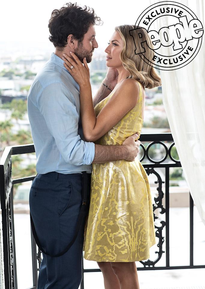 """After <a href=""""https://people.com/tv/stassi-schroeder-engaged-beau-clark/"""" target=""""_blank"""">accepting Beau Clark's proposal</a>in a graveyard in July, Stassi Schroeder went with a more location for their engagement shoot: a West Hollywood hotel suite. """"The balcony was giving us Parisian vibes,"""" she tells PEOPLE. """"The thing we love doing the most together is traveling and feel like we spend most of our time in hotels — so we thought it was a good way to capture who we are as a couple."""""""