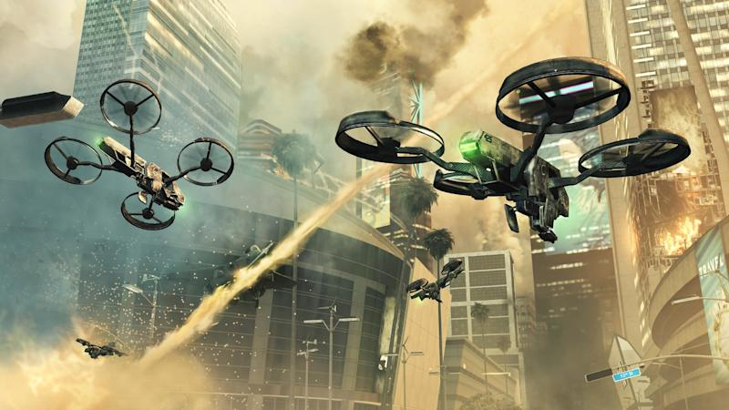 """FILE - This video game publicity image released by Activision shows a scene from """"Call of Duty: Black Ops II. """"When the latest installment in the wildly popular """"Call of Duty"""" video game franchise is released Tuesday, Nov. 13, 2012, it will transport fans to a completely new place: the future. Setting half of """"Call of Duty: Black Ops II"""" in the year 2025 could be the riskiest gambit yet for the successful shoot-'em-up series known for its relentless past-and-present realism. (AP Photo/Activision, File)"""