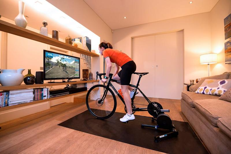 A Wahoo Kickr connected to Zwift