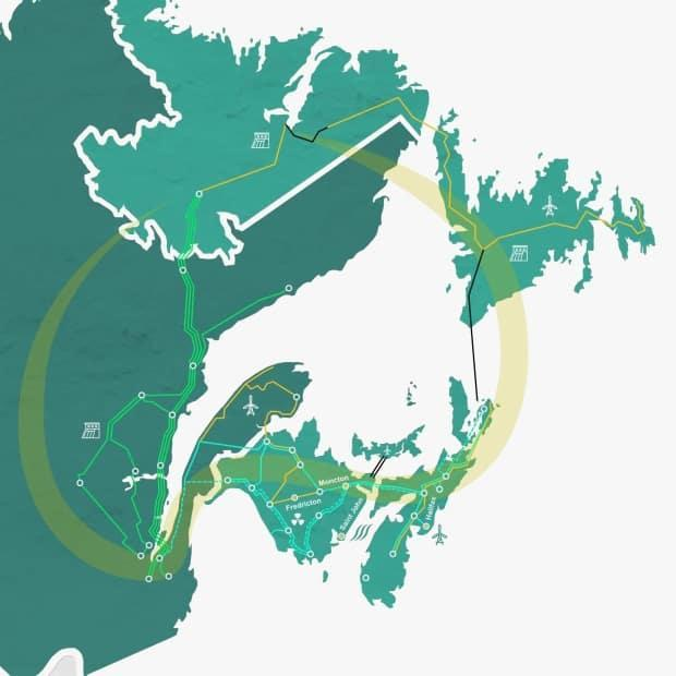 This map of a possible Atlantic Loop route was included in an interim report from the Atlantic Clean Power Planning Committee in August 2020. The committee is expected to release a final report in March.