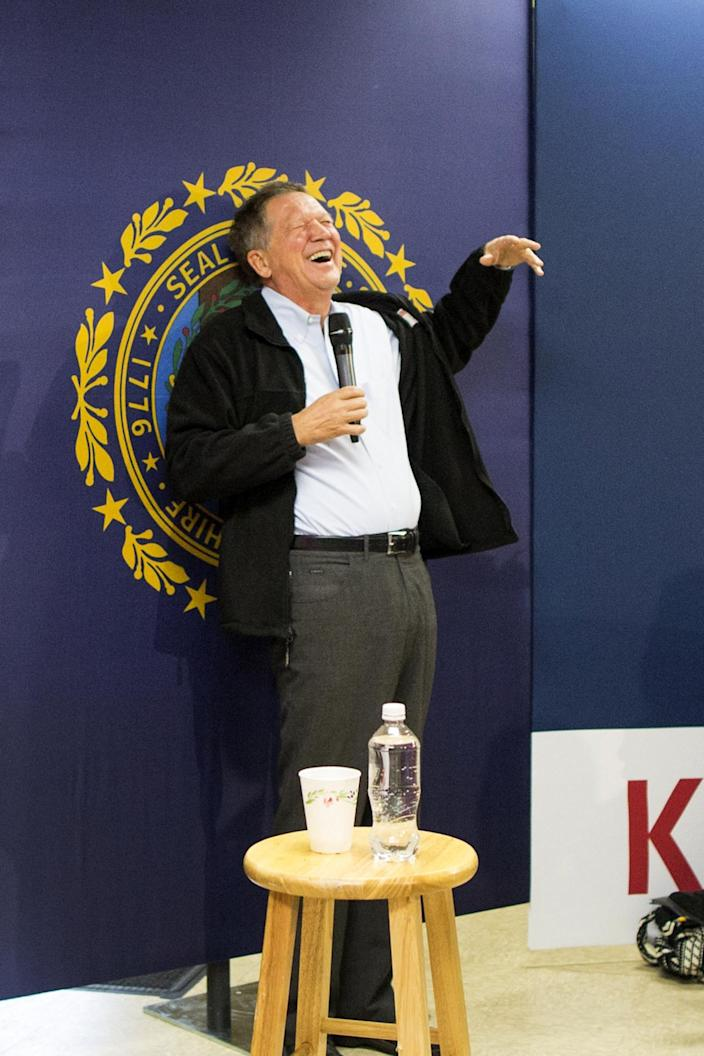 """<p>John Kasich, governor of Ohio and 2016 Republican presidential candidate, laughs while speaking during a VFW town hall event in Raymond, on Wednesday, Feb. 3, 2016. Kasich said he's ready to drop out of the Republican presidential race if he """"gets smoked"""" in next week's New Hampshire primary. <i>(Photo: Scott Eisen/Bloomberg via Getty Images)</i></p>"""