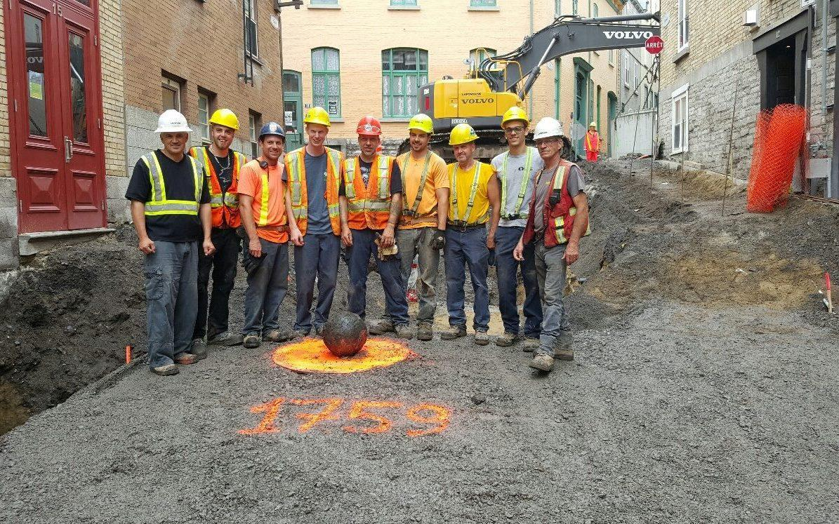 <span>Construction workers found the cannonball in Old Quebec</span> <span>Credit: Lafontaine/Facebook </span>