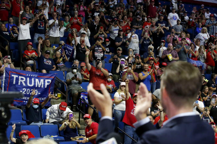 Image: Supporters cheer for Eric Trump before the start of a rally in Tulsa, Okla., on June 20, 2020. (Sue Ogrocki / AP)