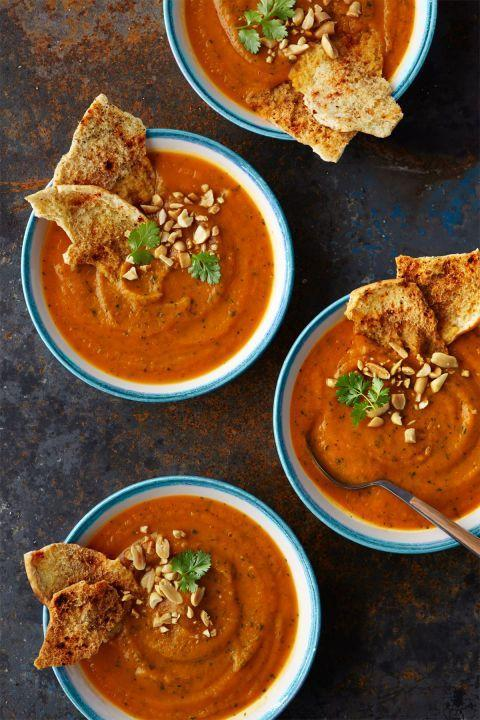 """<p>If you've got leftover roasted sweet potatoes, you can easily blend them into this quick, delicious, spicy soup.</p><p><strong><a href=""""https://www.countryliving.com/food-drinks/recipes/a36484/spiced-sweet-potato-and-peanut-puree/"""" rel=""""nofollow noopener"""" target=""""_blank"""" data-ylk=""""slk:Get the recipe"""" class=""""link rapid-noclick-resp"""">Get the recipe</a>.</strong></p><p><strong><a class=""""link rapid-noclick-resp"""" href=""""https://www.amazon.com/Hamilton-Beach-Programmable-Temperature-33969A/dp/B00EZI26GO?tag=syn-yahoo-20&ascsubtag=%5Bartid%7C10050.g.1064%5Bsrc%7Cyahoo-us"""" rel=""""nofollow noopener"""" target=""""_blank"""" data-ylk=""""slk:SHOP SLOW COOKERS"""">SHOP SLOW COOKERS</a><br></strong></p>"""