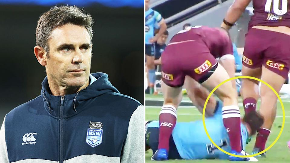 NSW coach Brad Fittler (pictured left) during a game and Jai Arrow (pictured right) shoving James Tedesco back into the turf.