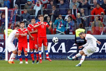 Soccer Football - International Friendly - Russia vs Turkey - VEB Arena, Moscow, Russia - June 5, 2018 Turkey's Yusuf Yazici shoots at goal from a free kick REUTERS/Sergei Karpukhin
