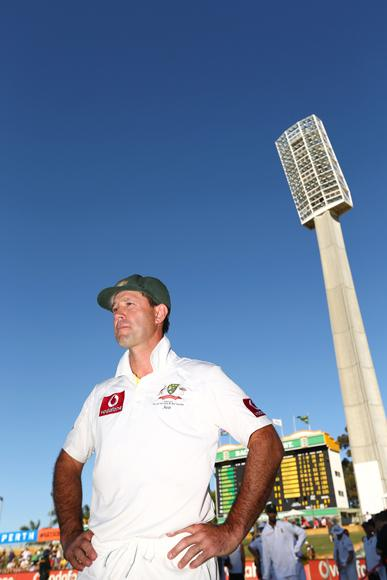 Ricky Ponting of Australia conducts a television interview after day four of the Third Test Match between Australia and South Africa at WACA on December 3, 2012 in Perth, Australia.  (Photo by Robert Cianflone/Getty Images)