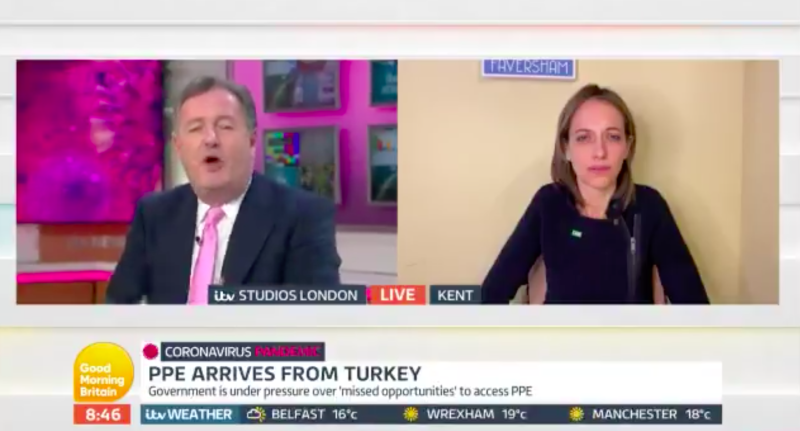 Piers Morgan and Helen Whately clashed over coronavirus testing. (ITV)