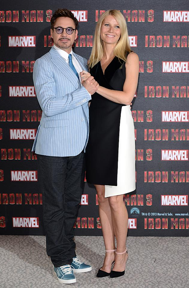 LONDON, ENGLAND - APRIL 17:  Robert Downey Jnr and Gwyneth Paltrow attend the Iron Man 3 photocall at The Dorchester on April 17, 2013 in London, England.  (Photo by Karwai Tang/Getty Images)