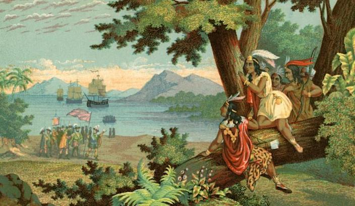 Vintage illustration of Christopher Columbus arriving in the New World; chromolithograph, 1900. (Photo by GraphicaArtis/Getty Images)