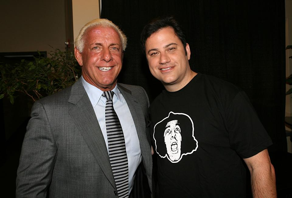 Wrestler Ric Flair and television personality Jimmy Kimmel at WWE Friday Night SmackDown on June 3, 2008 at the Staples Center in Los Angeles, California. (Photo by Jesse Grant/WireImage)