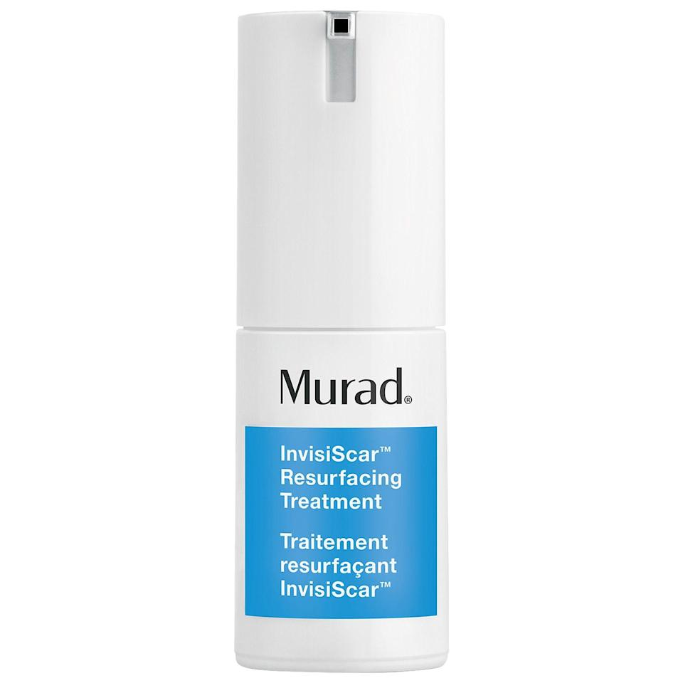 """<p><strong>Murad</strong></p><p>sephora.com</p><p><strong>$36.00</strong></p><p><a href=""""https://go.redirectingat.com?id=74968X1596630&url=https%3A%2F%2Fwww.sephora.com%2Fproduct%2Finvisiscar-resurfacing-treatment-P446423&sref=https%3A%2F%2Fwww.marieclaire.com%2Fbeauty%2Fg35218066%2Fbest-products-for-acne-scars%2F"""" rel=""""nofollow noopener"""" target=""""_blank"""" data-ylk=""""slk:SHOP IT"""" class=""""link rapid-noclick-resp"""">SHOP IT</a></p><p>If you've got deep scarring that's too stubborn for other products, Murad's targeted treatment is proven to minimize the scars' depth and discoloration in just two months using BHAs and Vitamin C. </p>"""